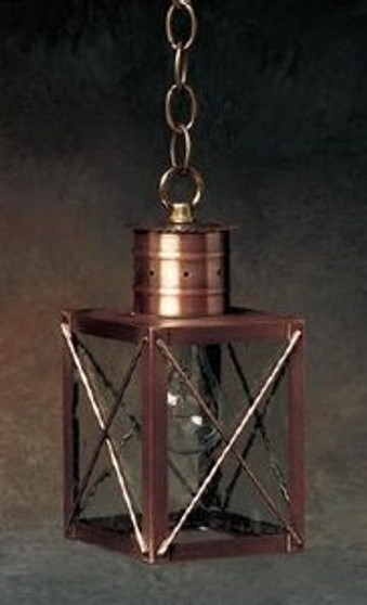 Williamsburg Hanging Lantern - Small Shown with Antique Copper Finish, Seedy Glass and X Wire Cage