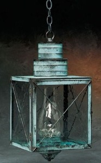 Williamsburg Hanging Lantern - Large Shown with Verde Green Finish, Seedy Glass and X Wire Cage