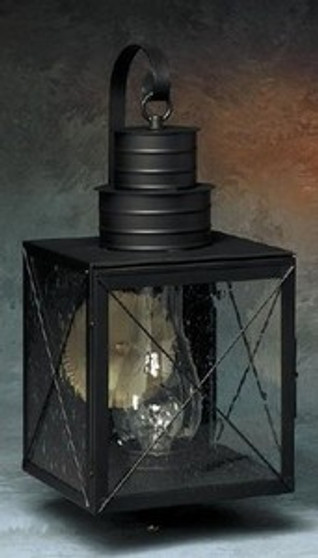 Williamsburg Wall Lantern - Large Shown with Gun Metal Finish, Seedy Glass, X Wire Cage and Arch Bracket