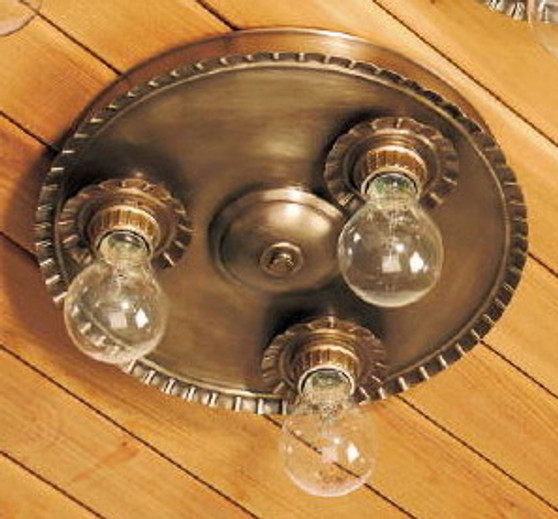 Crimped Round Ceiling Light - Large Shown with Antique Brass Finish