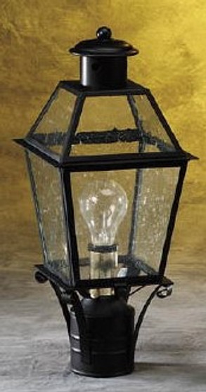 Trapezoid Post Lantern - Small Shown with Black Finish, Glass Top and Seedy Glass