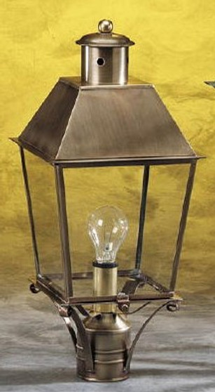 Trapezoid Post Lantern - Medium Shown with Antique Brass Finish, Brass Top and Clear Glass