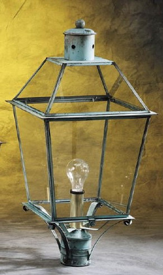 Trapezoid Post Lantern - Large Shown with Verde Green Finish, Glass Top and Clear Glass