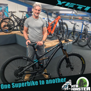 Carl Fogarty... picks up his new Yeti Bike from MTB Monster !