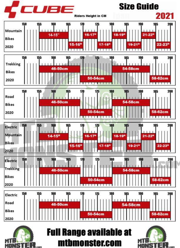 Cube bike size chart and bike size guide 2021