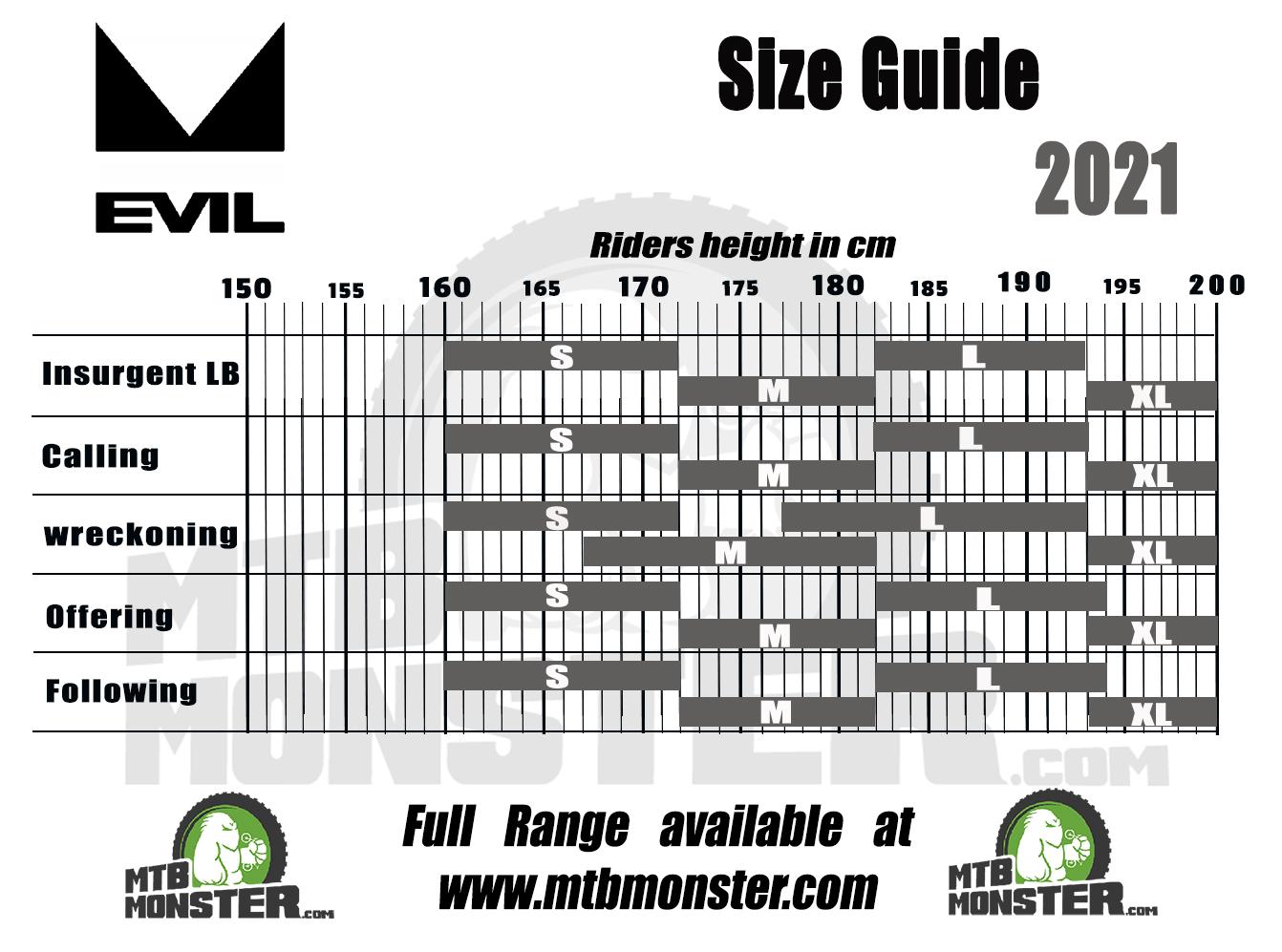 Evil bike sizing chart and bike size guide 2021