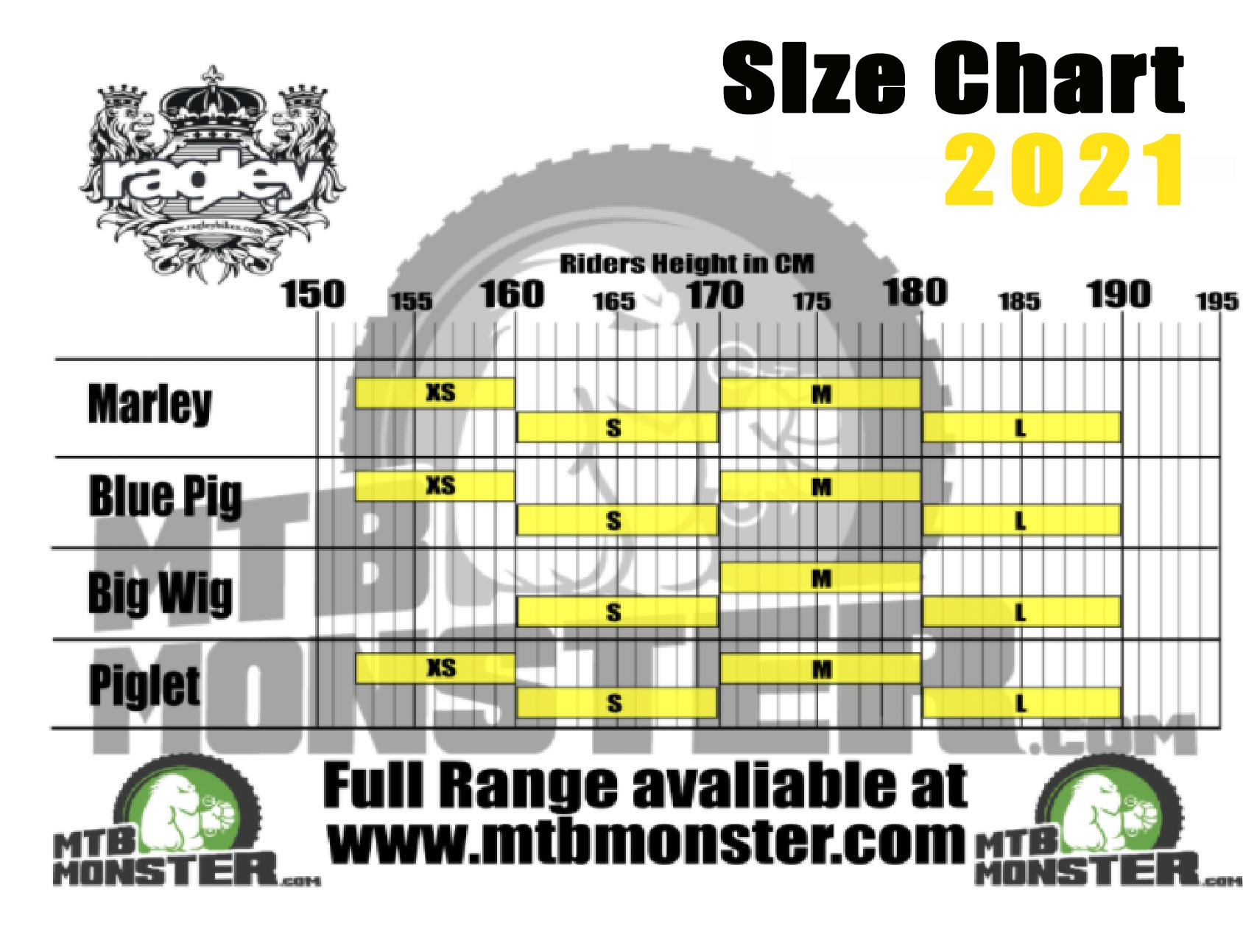 Ragley bike sizing chart and bike size guide 2021
