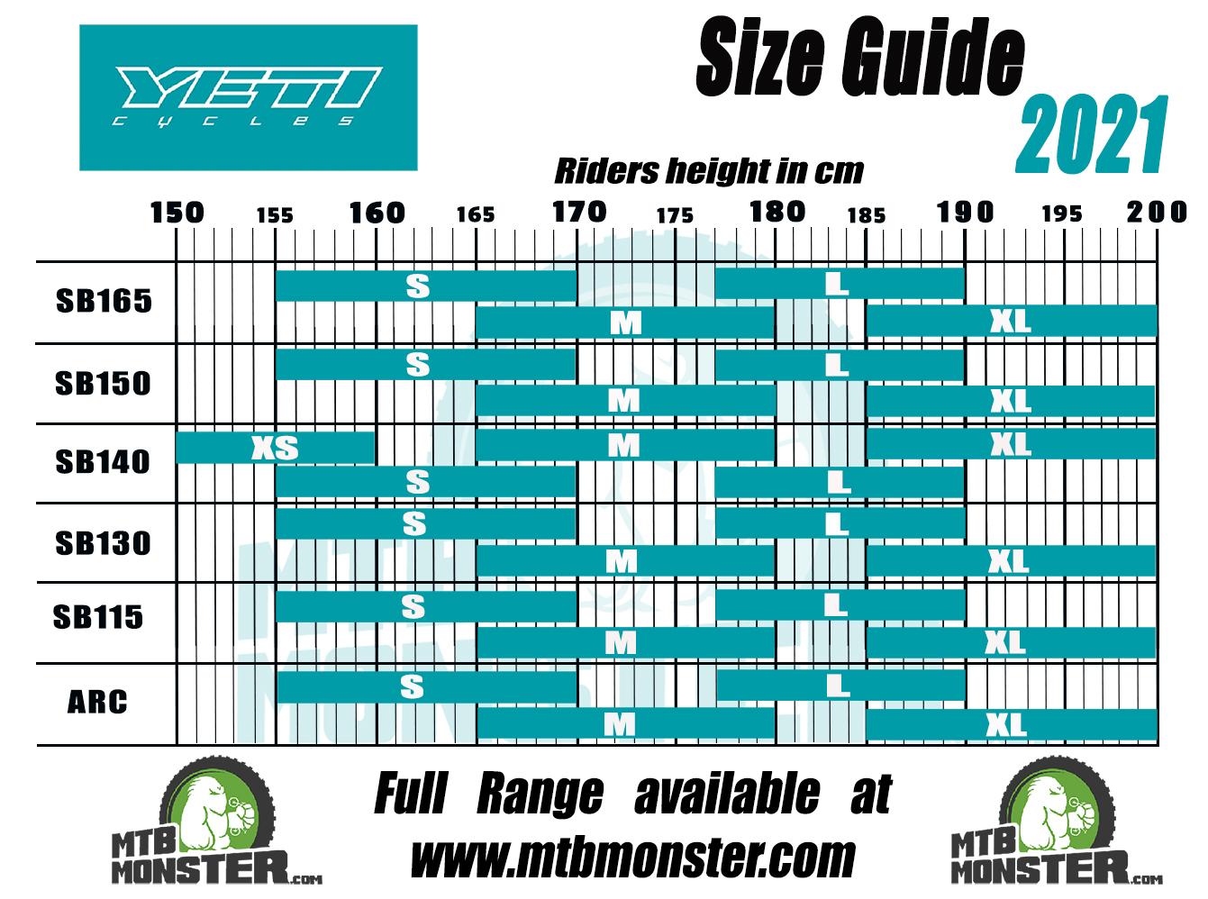 Yeti bike sizing chart and yeti cycling size guide 2021