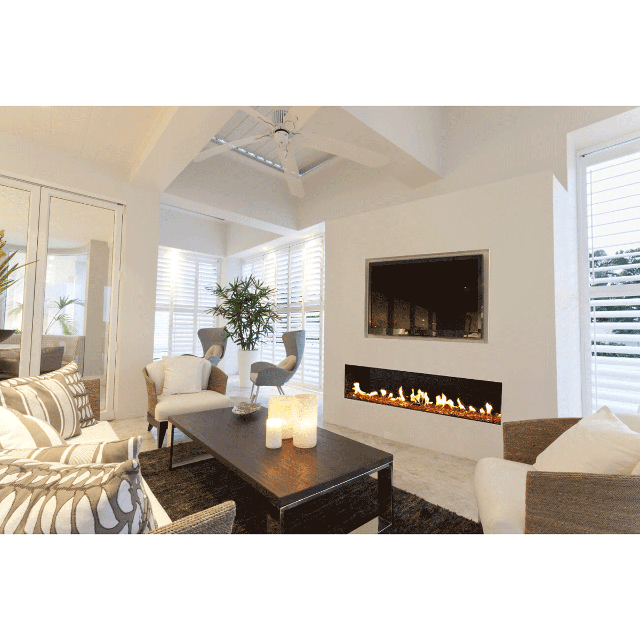 Flare Front Modern Linear Fireplace Ams Fireplace