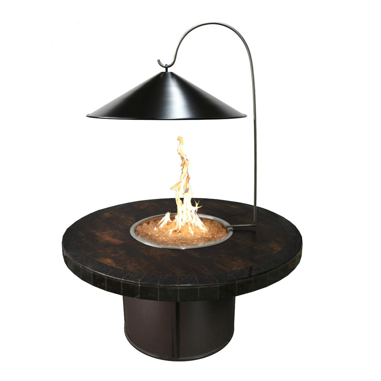 The Outdoor Plus Black Steel Cone Fire Pit Cover With Heat Reflector Ams Fireplace