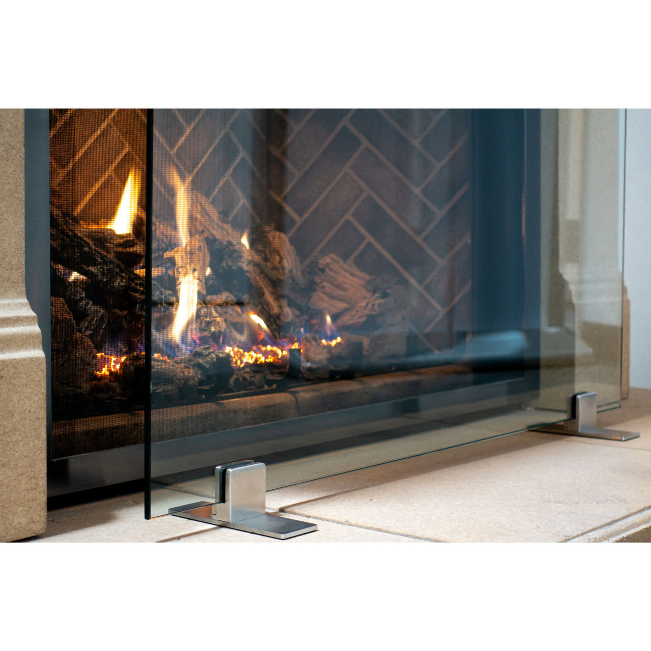 Manhattan Modern Free Standing Glass Fireplace Screen Ams Fireplace