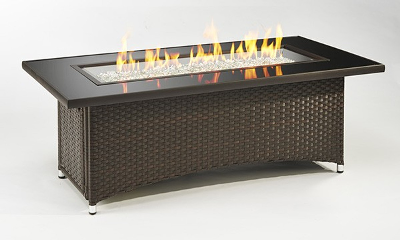 Outdoor Greatroom Montego Crystal Fire Pit Coffee Table With Balsam Wicker Base Mg 1242 Blsm K