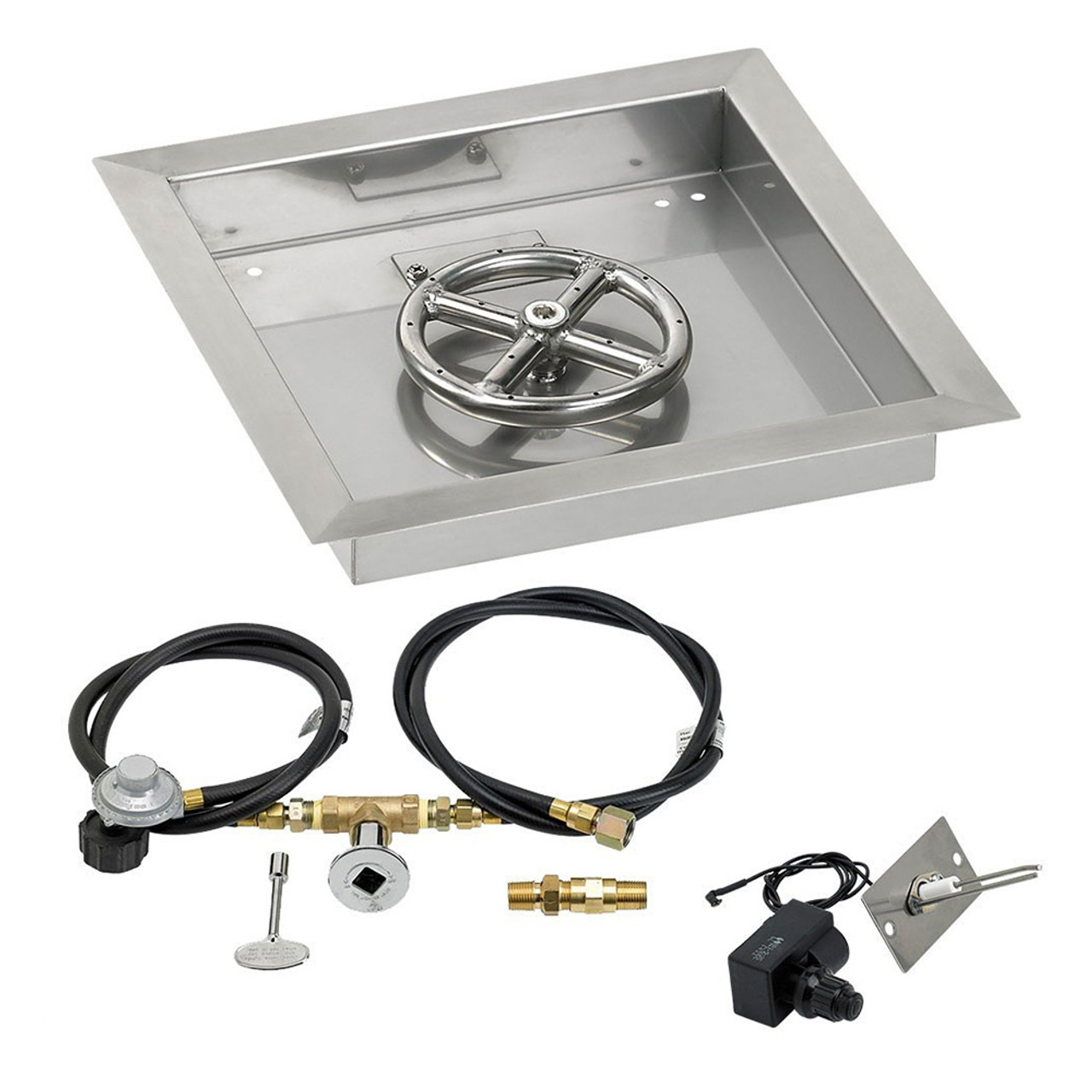 Gas Connections and Spark Ignition System Propane Version American Fireglass Square Gas Fire Pit Drop in Pan with Burner