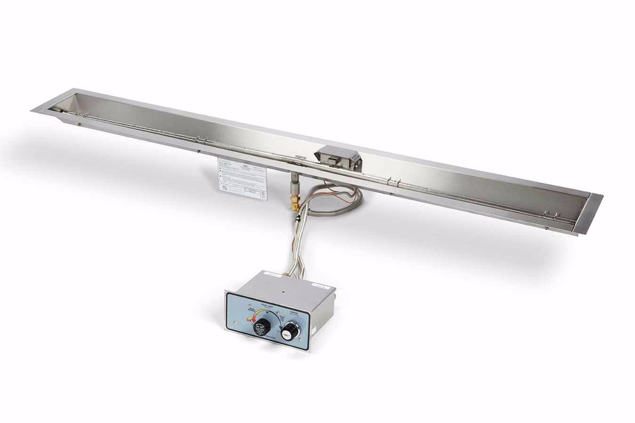 48 Inch Linear Trough Fire Pit Insert Push Button Flame Sense Hpc Fppk48 Trgh Flex