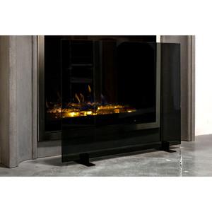 Manhattan Modern Free Standing Glass Fireplace Screen Ams Fireplace