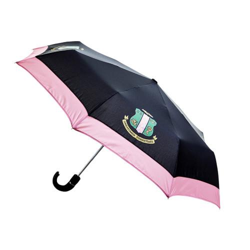 Alpha Kappa Alpha Sorority Upside Down Inverted Dual Layer Umbrella Black