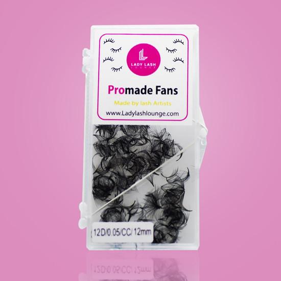 12D Promade Fan Volume Lashes, CC Curl (500 fans).