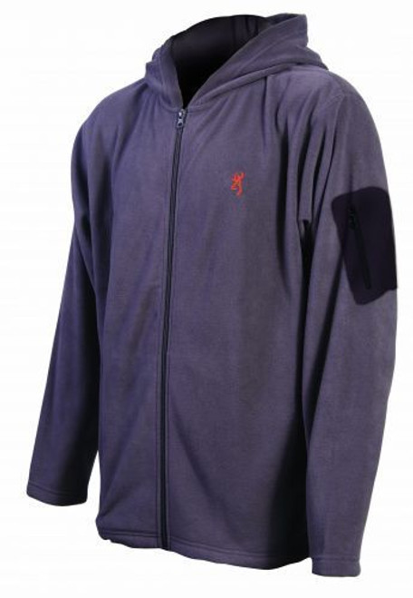 Browning Men's Hooded Fleece Jacket w/ Sleeve Pocket Mens BRI0028 Charcoal
