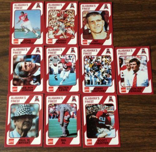 (10) Alabama's Finest Coca Cola 1989 Football Card Set Bear Bryant