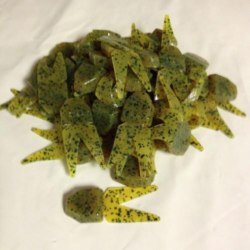 (50) Netbait Small Chunk Jig Trailer Bulk Chartreuse Pumpkin
