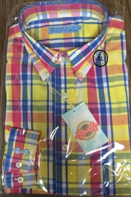 Southern Tiger Button-Down Long Sleeve Shirt $75 Retail YELLOW/BLUE