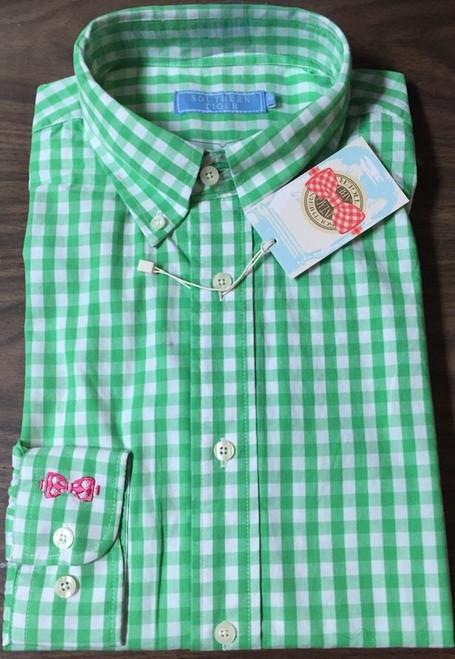 Southern Tiger Button-Down Long Sleeve Shirt $75 Retail GREEN CHECK