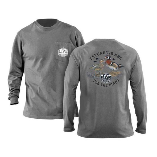For the Birds Long Sleeve Tee in Granite by We Live for Saturdays