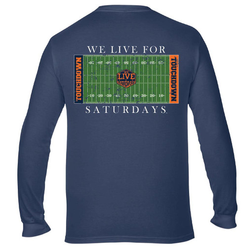 College Town Long Sleeve Touch Down Tee by We Live for Saturdays - Auburn China Blue