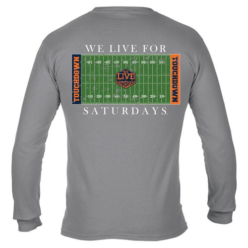 College Town Long Sleeve Touch Down Tee by We Live for Saturdays - Auburn Granite