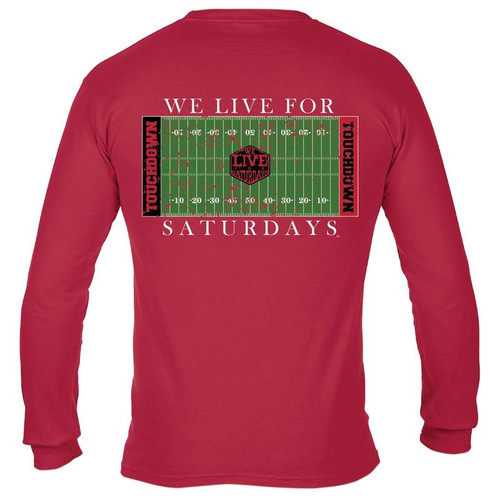 College Town Long Sleeve Touch Down Tee by We Live for Saturdays - Athens Red