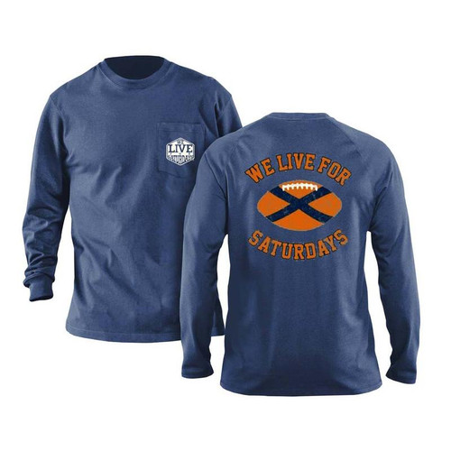 Auburn State Football Long Sleeve Tee by We Live for Saturdays - Blue