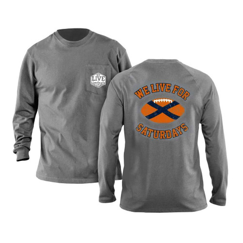 Auburn State Football Long Sleeve Tee - Granite