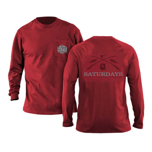 Saturdays on the Fly Long Sleeve Tee by We Live for Saturdays - Crimson