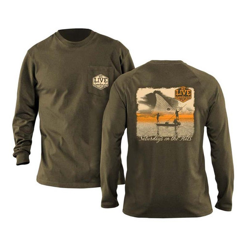 Flats Boat Long Sleeve Tee by We Live for Saturdays - Olive