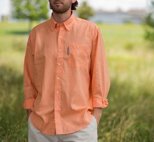 Southern Marsh Spoonbill Shirt Melon Linen