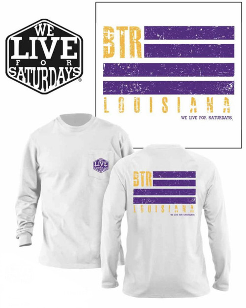 Baton Rouge WL4S Flag Long Sleeve Tee - White
