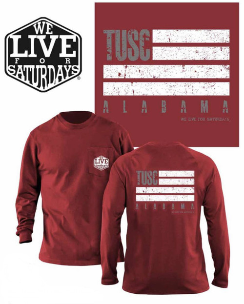 Tuscaloosa WL4S Flag Long Sleeve Tee - Crimson