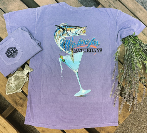 """We Live for Saturdays """"Bass in a Glass"""" Tee - Violet"""