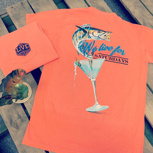 "We Live for Saturdays ""Bass in a Glass"" Tee - Melon"