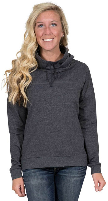 Simply Southern Cowl Neck Pullover - Dark Heather Gray