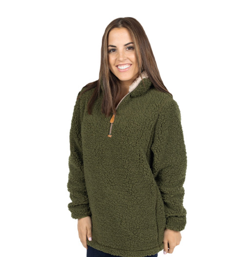 Simply Southern Sherpa Pullover - Army