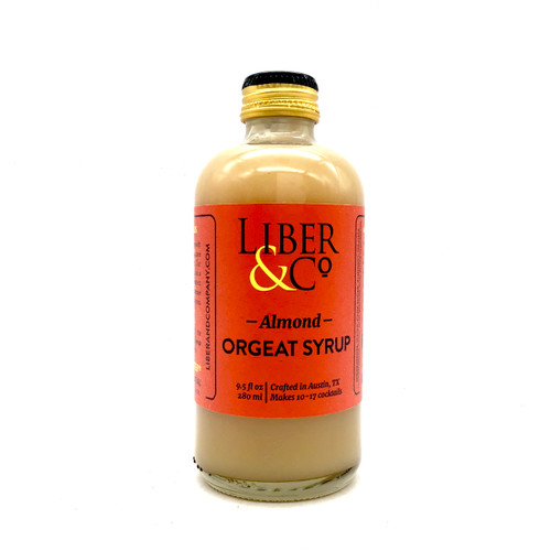 Bottle of Liber & Co almond orgeat syrup