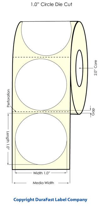 "LX500 1"" Circle High Gloss Labels 1500/Roll"