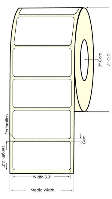 "LX900 3"" x 2"" Glossy BOPP Labels 1100/Roll (75991G)"