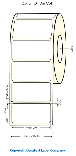"Primera LX900 2""x1""  White Polyester Labels | Primera LX900 Labels | Labels"