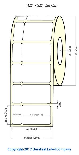 "Primera LX900 4""x2"" NP (tea) White Matte Labels | Primera LX900 Labels | Labels"