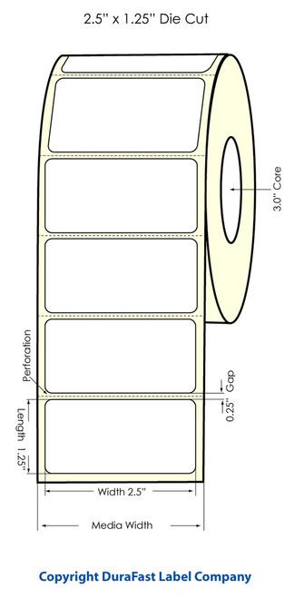 """Primera LX900 2.5"""" x 1.25"""" High Gloss Label Roll"""