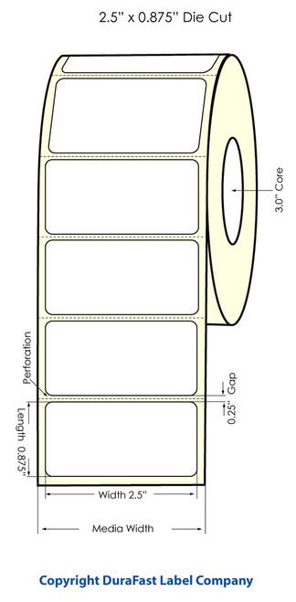 """Primera LX900 2.5"""" x 0.875"""" High Gloss Label Roll"""