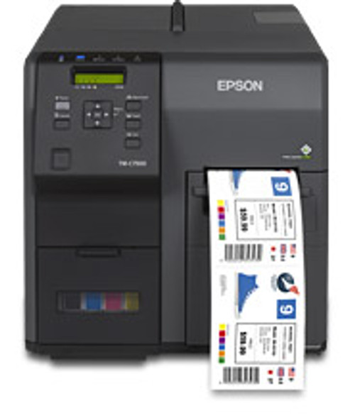 Epson TM-C7500G Gloss color label printer has an integrated label unwinder which can hold up to 8 inch OD rolls.