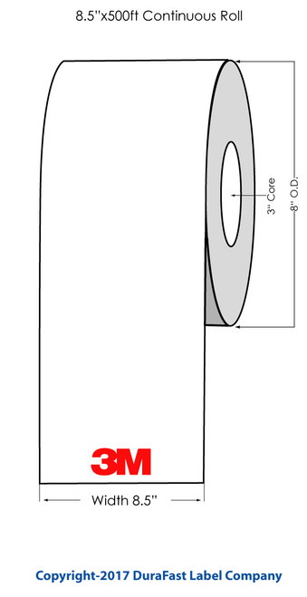 "3M FM852 Laser Glossy Clear Polyester Label Roll 8.5""x500 Feet"